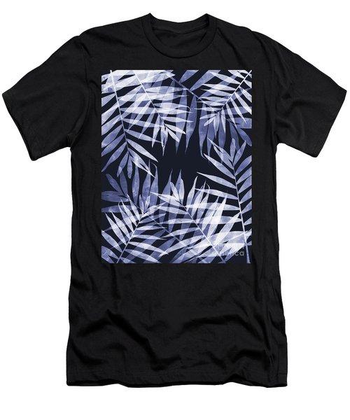 Blue Tropical Leaves Men's T-Shirt (Athletic Fit)