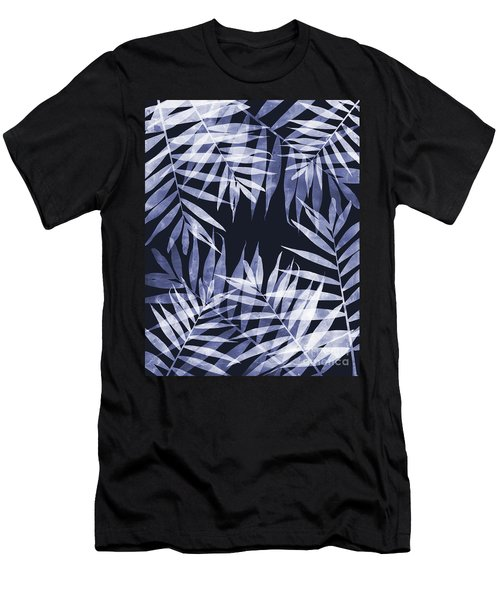 Blue Tropical Leaves Men's T-Shirt (Athletic Fit)