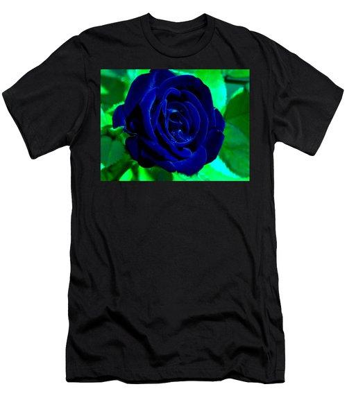 Blue Velvet Rose Men's T-Shirt (Slim Fit)