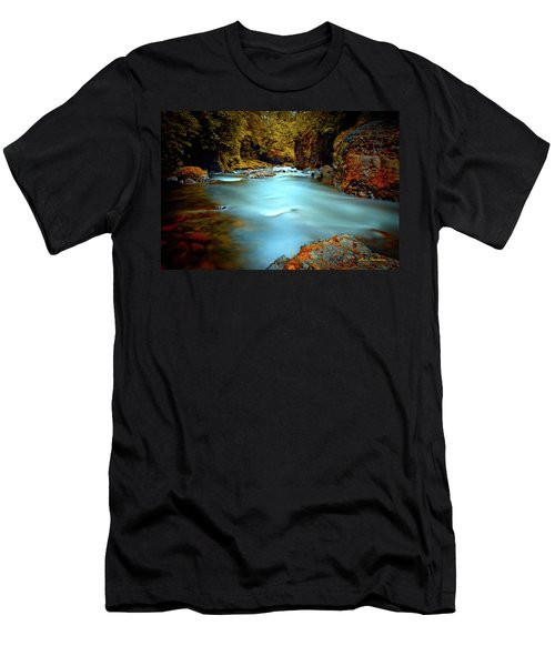 Blue Water And Rusty Rocks Signed Men's T-Shirt (Athletic Fit)