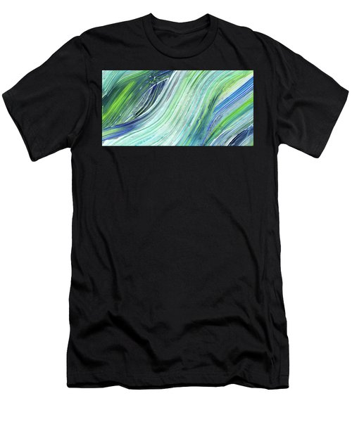 Blue Wave Abstract Art For Interior Decor II Men's T-Shirt (Athletic Fit)