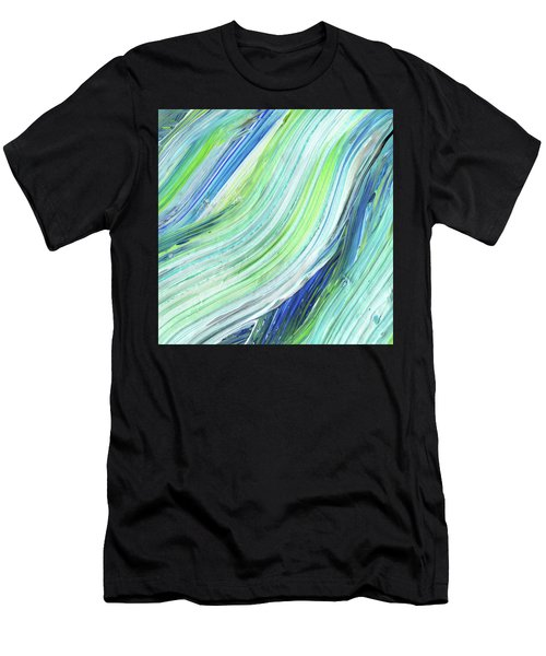 Blue Wave Abstract Art For Interior Decor Iv Men's T-Shirt (Athletic Fit)