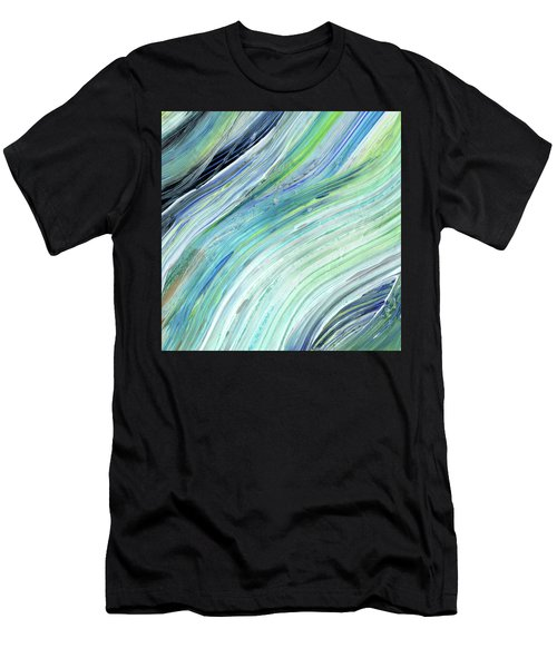 Blue Wave Abstract Art For Interior Decor V Men's T-Shirt (Athletic Fit)
