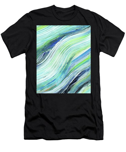 Blue Wave Abstract Art For Interior Decor Vii Men's T-Shirt (Athletic Fit)