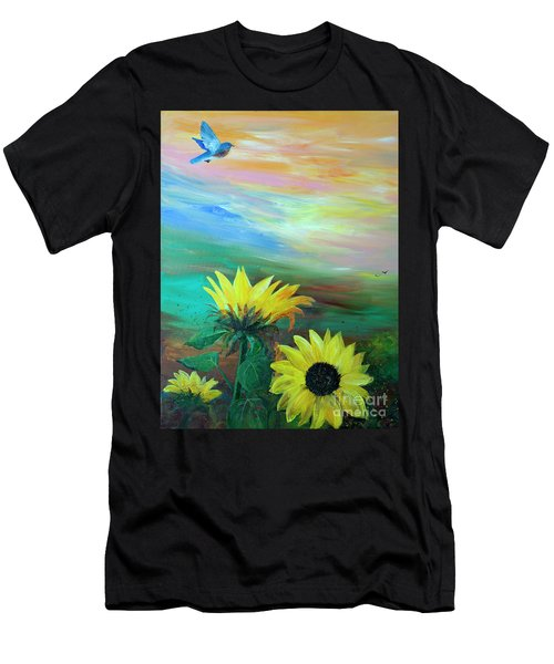 Bluebird Flying Over Sunflowers Men's T-Shirt (Athletic Fit)