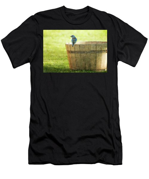 Bluebird Resting On Bucket, Textured Men's T-Shirt (Athletic Fit)