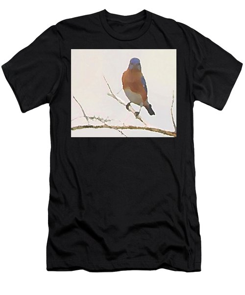 Men's T-Shirt (Athletic Fit) featuring the digital art Bluebird Stare  by Shelli Fitzpatrick