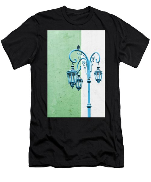 Blue,green And White Men's T-Shirt (Athletic Fit)