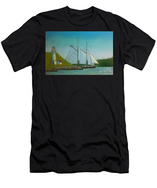 Bluenose Passing Georges Island Men's T-Shirt (Athletic Fit)