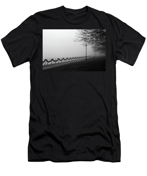 Men's T-Shirt (Slim Fit) featuring the photograph Boardwalk Fog 7 by Mary Bedy