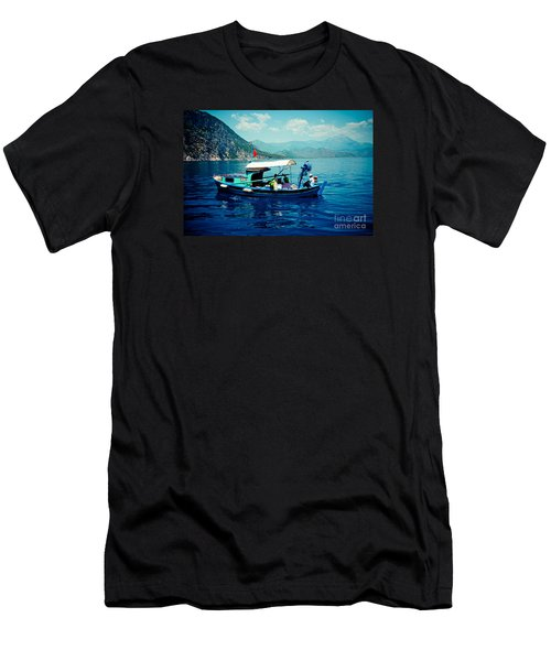 Boat And Sapfir Sea Seascape Artmif Men's T-Shirt (Athletic Fit)