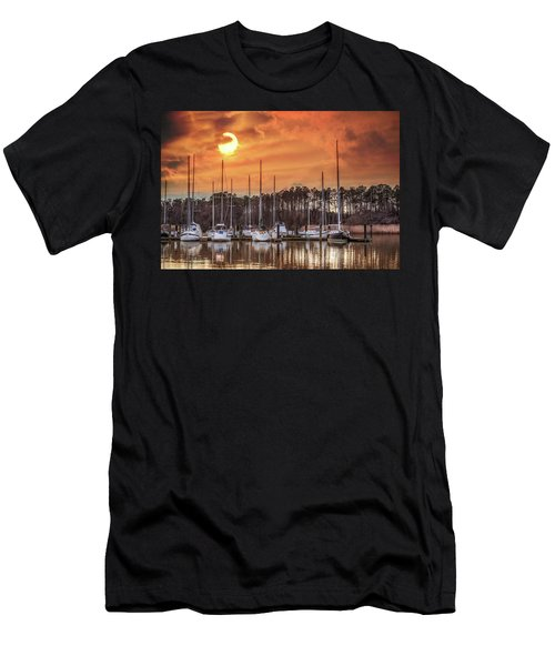 Boat Marina On The Chesapeake Bay At Sunset Men's T-Shirt (Athletic Fit)