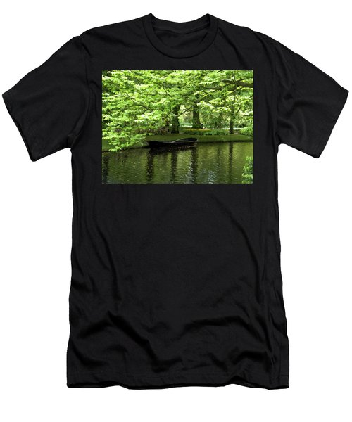 Boat On A Lake Men's T-Shirt (Slim Fit) by Manuela Constantin