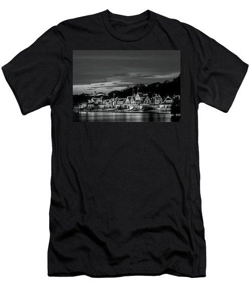 Boathouse Row Philadelphia Pa Night Black And White Men's T-Shirt (Athletic Fit)
