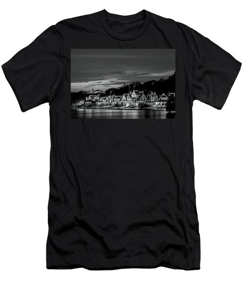 Boathouse Row Philadelphia Pa Night Black And White Men's T-Shirt (Athletic Fit)