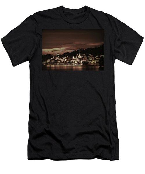 Boathouse Row Philadelphia Pa Night Retro Men's T-Shirt (Athletic Fit)