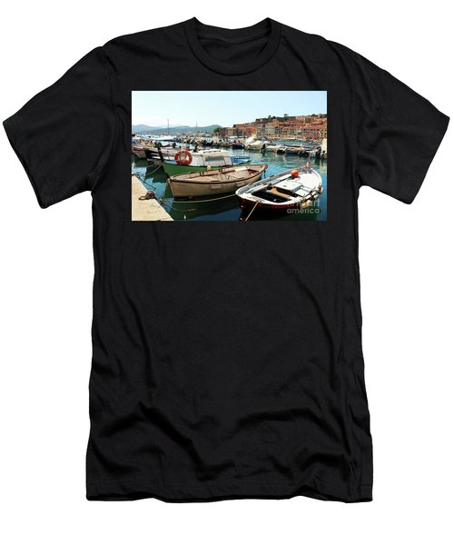 Men's T-Shirt (Slim Fit) featuring the photograph Boats In The Harbour by MGL Meiklejohn Graphics Licensing