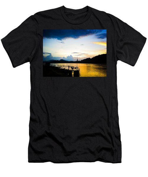 Boats In The Mekong River, Luang Prabang At Sunset Men's T-Shirt (Athletic Fit)