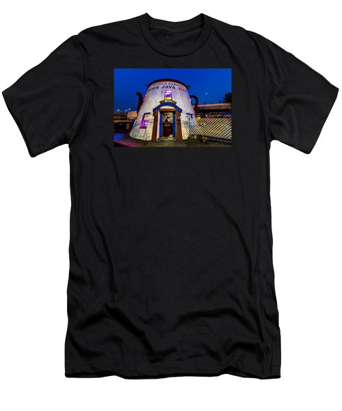 Men's T-Shirt (Slim Fit) featuring the photograph Bob's Java Jive - Historic Landmark During Blue Hour by Rob Green