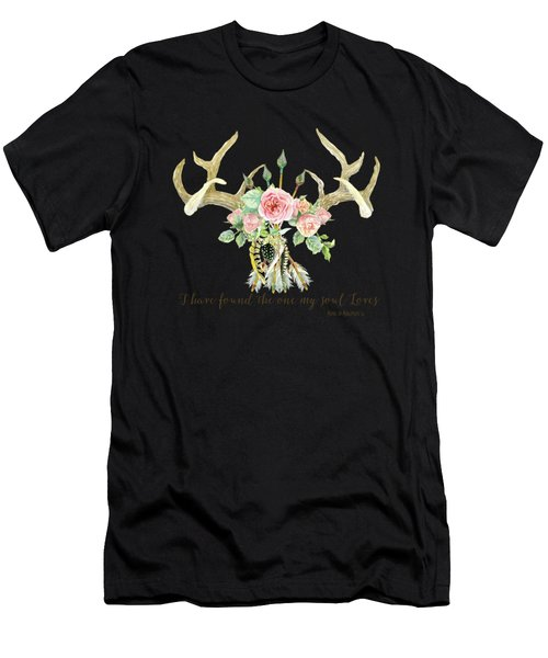 Boho Love - Deer Antlers Floral Inspirational Men's T-Shirt (Athletic Fit)