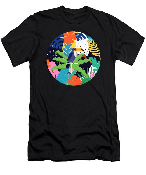 Bold Tropical Jungle Abstraction With Toucan Memphis Style Men's T-Shirt (Athletic Fit)