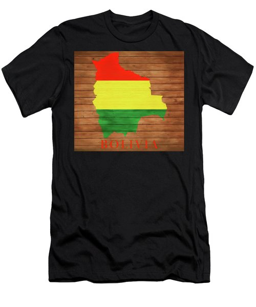 Bolivia Rustic Map On Wood Men's T-Shirt (Athletic Fit)