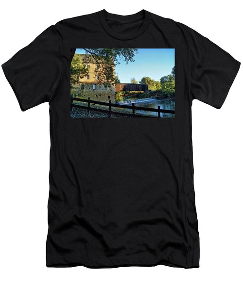 Men's T-Shirt (Slim Fit) featuring the photograph Bollinger Mill And Bridge by Cricket Hackmann