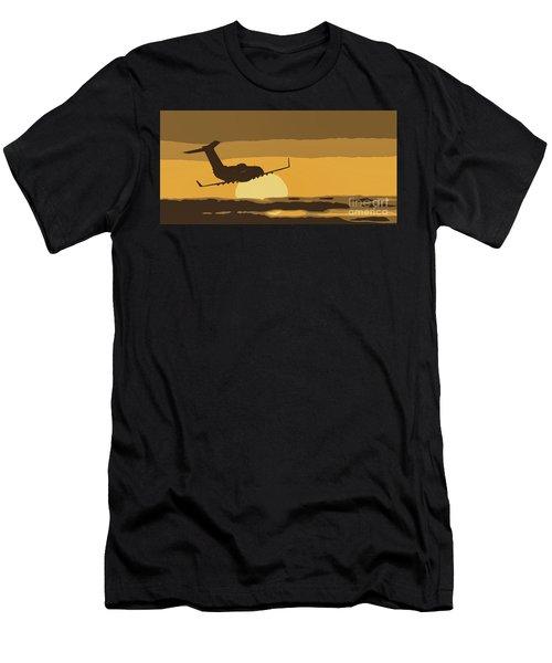 Bombardier Crj-200er Flying Sunset Men's T-Shirt (Athletic Fit)