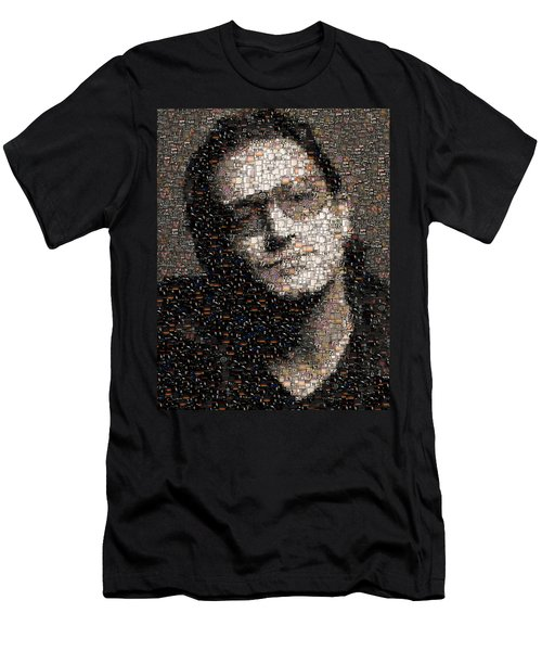 Men's T-Shirt (Slim Fit) featuring the mixed media Bono U2 Albums Mosaic by Paul Van Scott