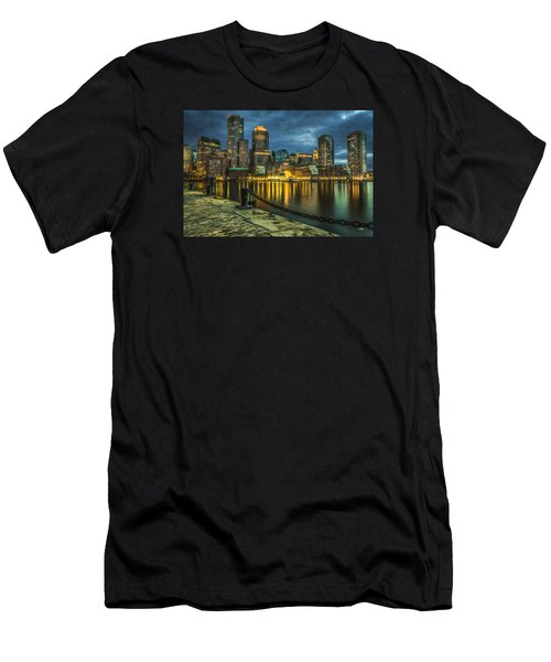 Boston Skyline At Night - Cty828916 Men's T-Shirt (Athletic Fit)