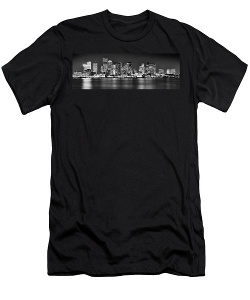 Boston Skyline At Night Panorama Black And White Men's T-Shirt (Athletic Fit)