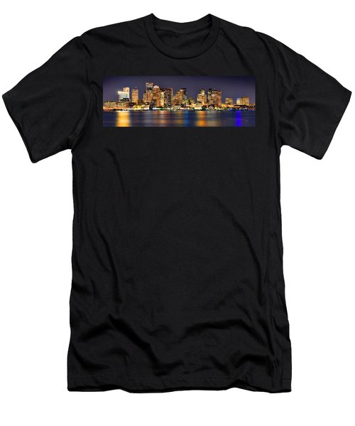 Boston Skyline At Night Panorama Men's T-Shirt (Athletic Fit)