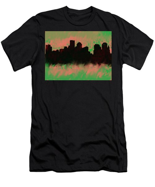 Boston Skyline Green  Men's T-Shirt (Athletic Fit)