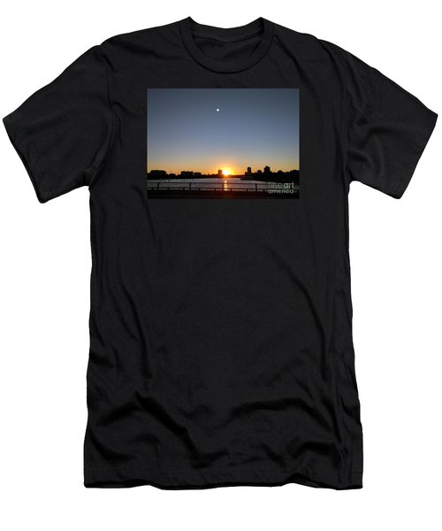 Men's T-Shirt (Slim Fit) featuring the photograph Boston Skyline Sunset   by Haleh Mahbod