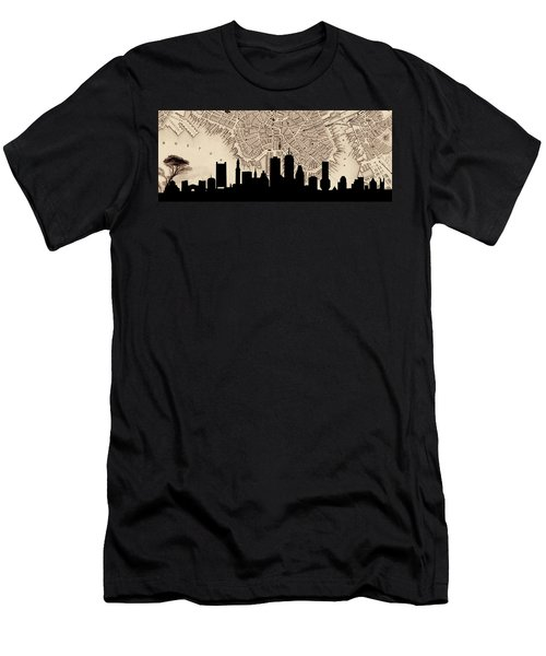 Boston Skyline Vintage Men's T-Shirt (Slim Fit) by Andrew Fare