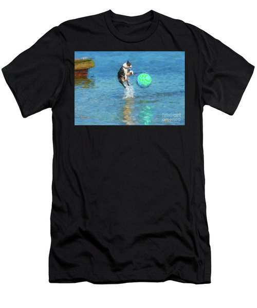 Boston Terrier Jump - Painterly Men's T-Shirt (Athletic Fit)