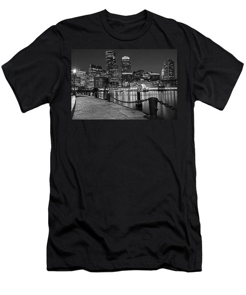 Boston Waterfront Boston Skyline Black And White Men's T-Shirt (Athletic Fit)