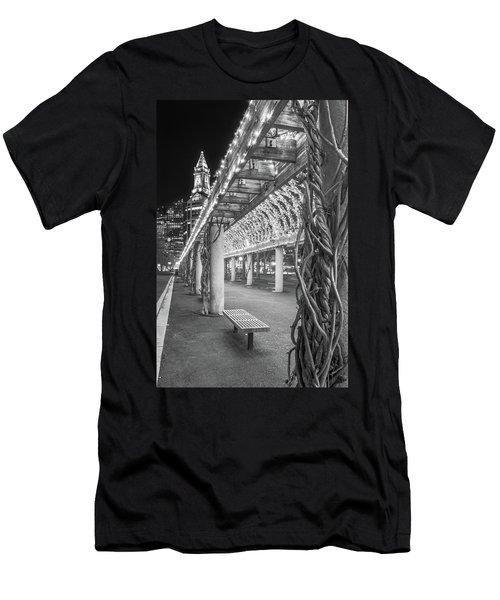 Boston's Custom House And Christopher Columbus Park Trellises Men's T-Shirt (Athletic Fit)