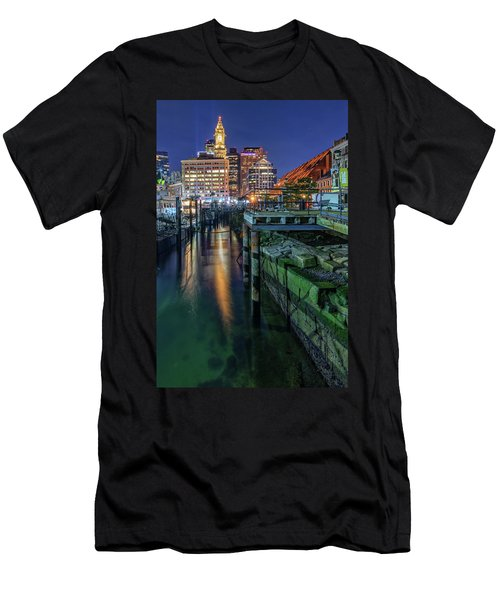Boston's Custom House Tower From Long Wharf Men's T-Shirt (Athletic Fit)