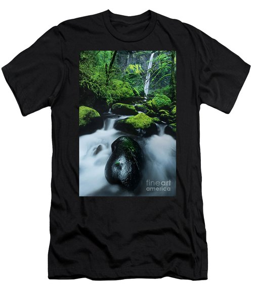 Men's T-Shirt (Slim Fit) featuring the photograph Boulder Elowah Falls Columbia River Gorge Nsa Oregon by Dave Welling