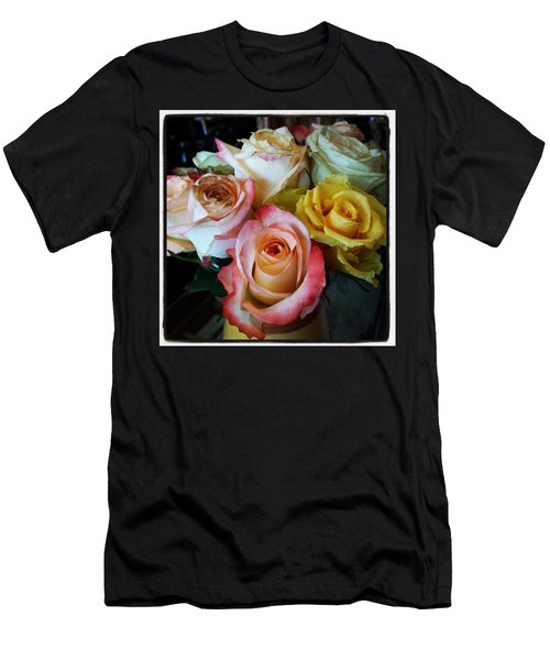 Men's T-Shirt (Athletic Fit) featuring the photograph Bouquet Of Mature Roses At The Counter by Mr Photojimsf