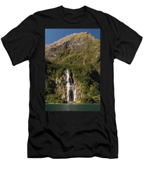 Men's T-Shirt (Athletic Fit) featuring the photograph Bowen Falls Milford Sound by Gary Eason