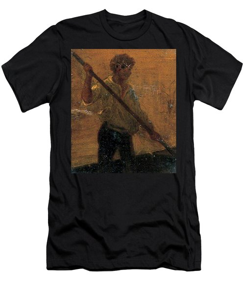 Men's T-Shirt (Slim Fit) featuring the painting Boy In A Punt by Henry Scott Tuke