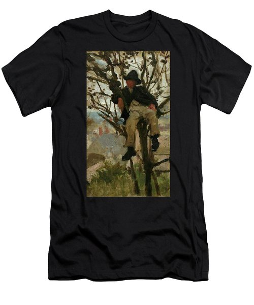 Men's T-Shirt (Slim Fit) featuring the painting Boy In A Tree by Henry Scott Tuke