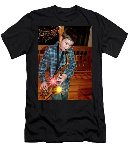 Boy Playing The Saxophone Men's T-Shirt (Athletic Fit)