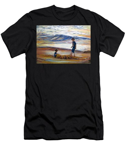 Men's T-Shirt (Athletic Fit) featuring the painting Boys Playing At The Beach by Ryn Shell