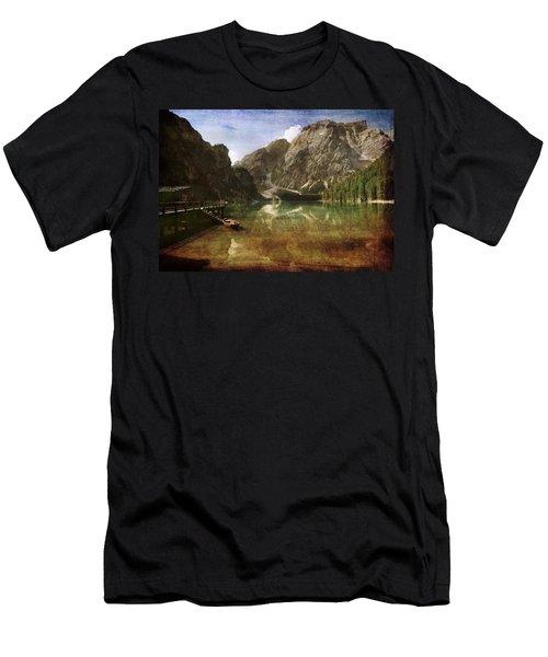 Braies Lake Men's T-Shirt (Slim Fit) by Vittorio Chiampan