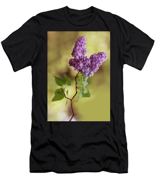 Men's T-Shirt (Athletic Fit) featuring the photograph Branch Of Fresh Violet Lilac by Jaroslaw Blaminsky