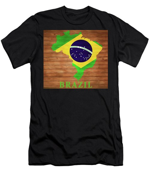 Brazil Rustic Map On Wood Men's T-Shirt (Athletic Fit)