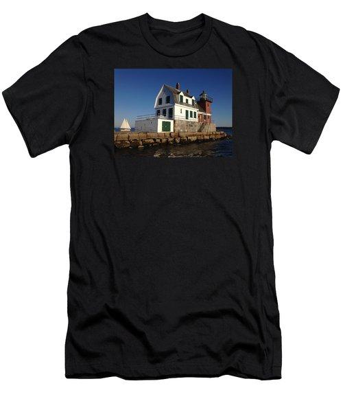 Breakwater Lighthouse Men's T-Shirt (Slim Fit) by Jewels Blake Hamrick